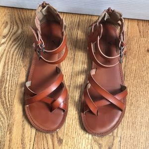 Brown Leather American Eagle Ankle Strap Sandals